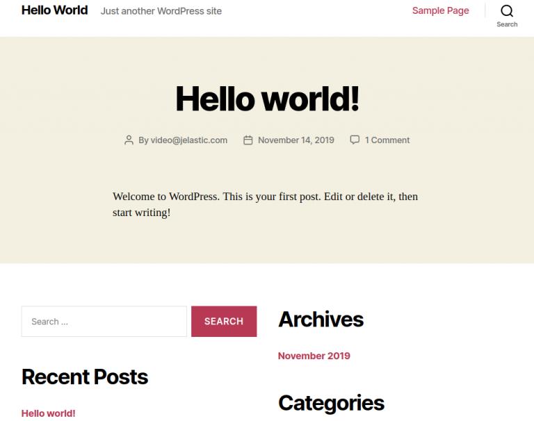 wordpress hosting vítejte